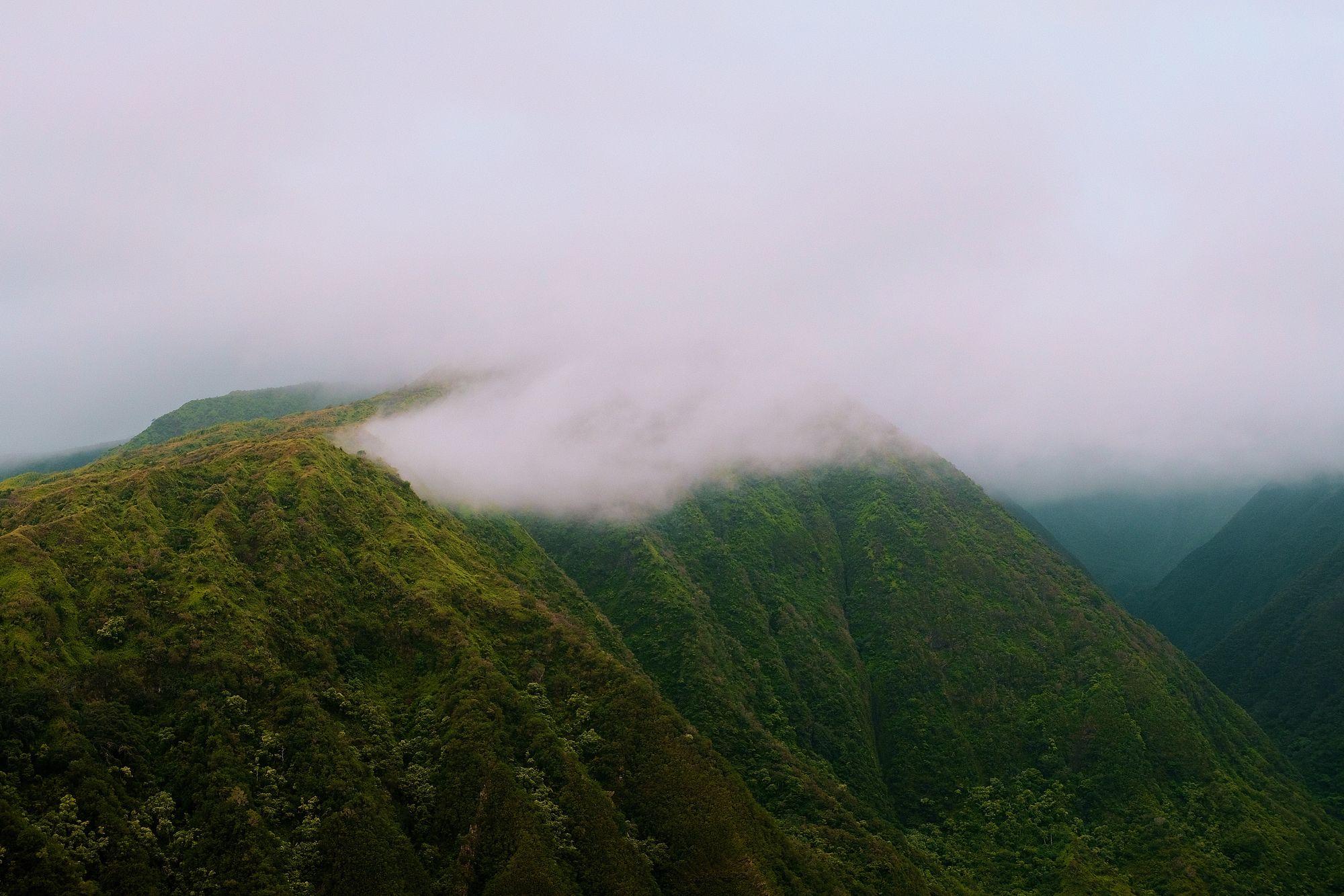 pixelwaves hawaii green mountain clouds forrest tree maui pixelwaves.net